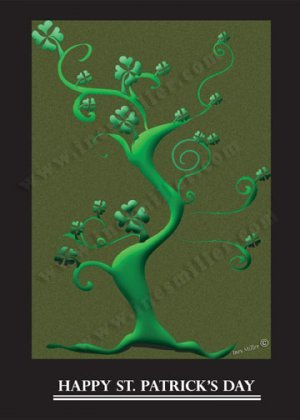 Shamrock Luck of the irish Personalized name custom Print 11X14 shamrocks green curly tree