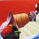 Handmade Greeting card Strawberry ice cream dessert cobalt blue crystal bowl chocolate stick cookie