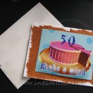 50TH BIRTHDAY card Pink Icing Polka dots 50 birthday make a wish cake stripes custom greeting card