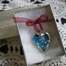 HEART soldered glass blue heart pendant handmade jewelry whimsey fashion jewelry