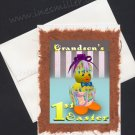GRANDSON'S First Easter Baby card handmade greeting card big Orange feet duckling hatching egg