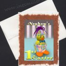 NEPHEW First's Easter Card Baby duckling Handmade whimsey greeting card
