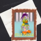FELIZ Pascua Spanish HAPPY EASTER Handmade Greeting card egg duckling