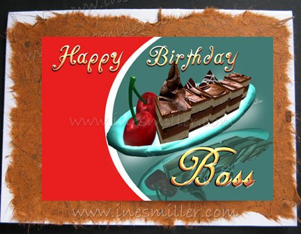 Greeting Card BOSS Handmade cards Chocolate fudge cake cherry whimsical design