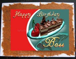Greeting Card BOSS Handmade Cards Chocolate Fudge Cake Cherry Whimsical Design