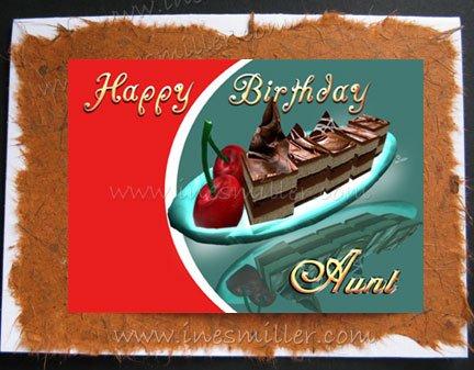 AUNT Handmade Greeting cardS AUNT CHOCOLATE FUDGE CAKE CHERRY whimsey art design