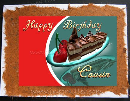 COUSIN Chocolate fudge Cacao Cherry- cherries dessert Handmade Greeting Card