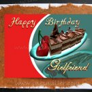 GIRLFRIEND Happy Birthday Handmade Card Chocolate cake Cherry desert