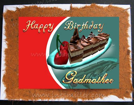 GODMOTHER Happy Birthday Card Handmade greeting Card cherry chocolate fudge cake