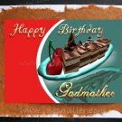 GODMOTHER Happy Birthday Card Handmade greeting Card cherry chocolate fudge cake