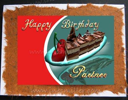 LESBIAN GAY Happy birthday  PARTNER card Handmade Greeting Card Chocolate Cake Cherry