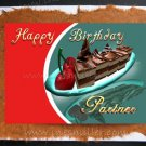 LESBIAN GAY Happy birthday  PARTNER card Handmade Greeting Card Chocolate Cake Cherry