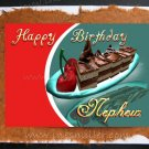 NEPHEW Happy Birthday Card Chocolate cherry cake HANDMADE greeting cards custom card