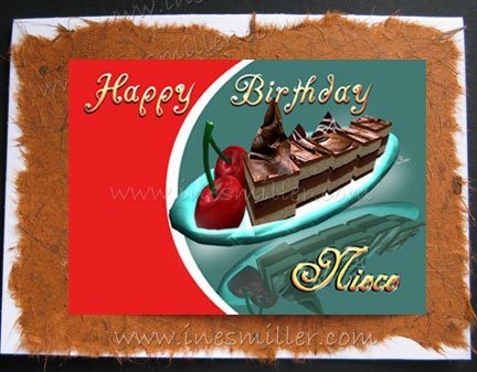 NIECE Happy Birthday greeting Card chocolate cake cherries handmade card