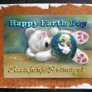 ASSISTANT PRINCIPAL Happy Earth Day Greeting card Environment Awareness Handmade Card Teddy Bear