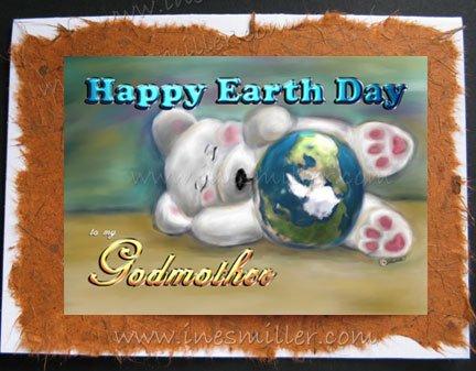 GODMOTHER Happy Earth Day Personalized handmade card sleeping white bear cub custom cards