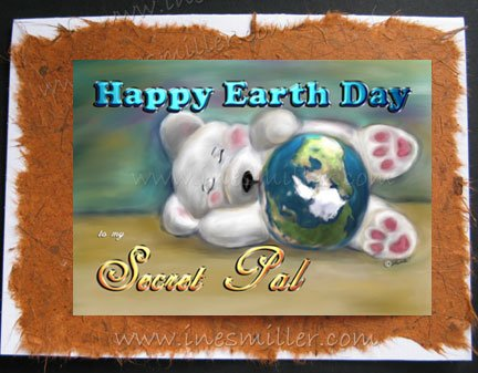 SECRET PAL Happy Earth day Handmade Greeting card white sleeping Bear personalized cards