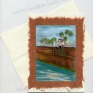 Handmade Card Fishing Teddy Bear BLANK PLAIN Collectible greeting Card Ines Miller