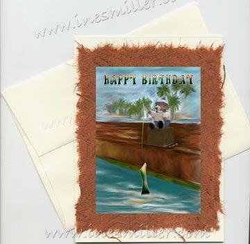 HAPPY BIRTHDAY First Birthday Handmade Greeting card Fishing Teddy Bear Original Art