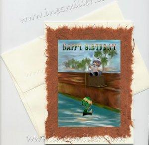 HAPPY BIRTHDAY 2 Second child  Birthday Handmade Greeting card Fishing Teddy Bear Original Art