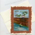 Happy Birthday child 6th birthday whimsical Teddy Bear fishing on Port Personalized greeting card