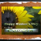 Mother's Day Greeting Card COUSIN Handmade personalized cards sunflower heart Nature art