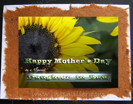 Mother's Day Card DAUGHTER IN LAW Handmade personalized cards Sunflower Nature yellow flower