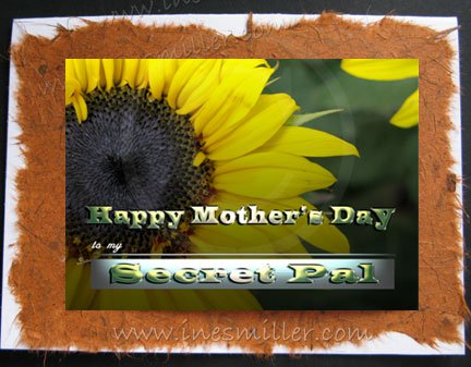 Greeting Card SECRET PAL Happy Mother's Day Sunflower handmade greeting card