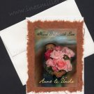 AUNT UNCLE Anniversary Greeting Card  Toddler Hugging Garden Roses Art painting OOAK handmade card