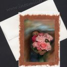 Greeting Card Handmade OOAK card Roses from my Garden Child bouquet pink roses art painting