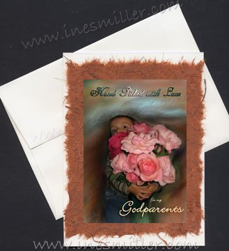 PARENTS Anniversary Handmade Greeting Card art painting cards child pink Roses