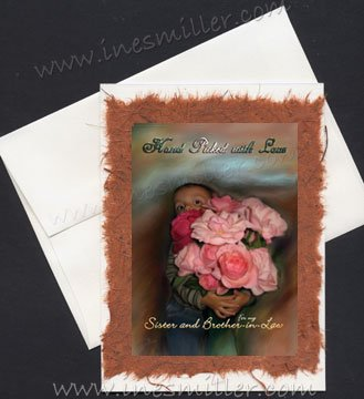 SISTER & BROTHER-in-Law HAPPY Anniversary Card Handmade personalized art roses child