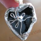 Black HEART  Daisy Soldered glass pendant handmade fashion jewelry