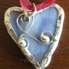 Blue heart pendant handmade fashion jewelry petite hearts SOLDERED GLASS ART jewelry