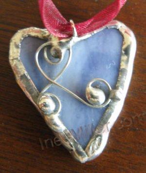 Blue heart pendant handmade fashion jewelry petite hearts SOLDERED GLASS ART jewelry