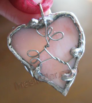 Pretty Pink Heart Pendant whimsical fashion jewelry handcrafted  soldered heart pendant