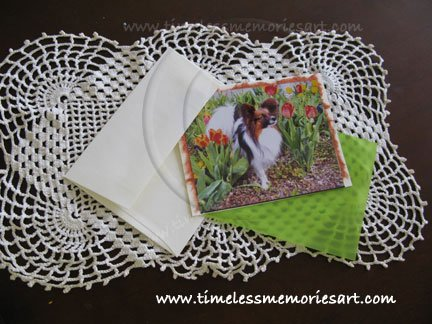 Papillon Dog tulip garden notecards personalized custom cards gift set8  stylish boutique cards