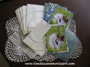 Papillon dog on green grass  country field  handmade dog cards boutique  notecards