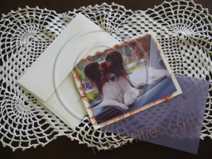 Notecards handmade high end boutique style note-cards Papillon dog Animal Pet custom notecards