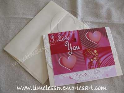 Valentine Greeting Card Handmade card Heart Valentine day I love You Pink squares Virna