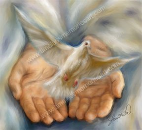 Dove God hands White dove release Digital art painting print  13X19 Religious Holy Dove