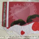 Valentine flower pink  heart embellish with  silver glitter handmade Greeting card