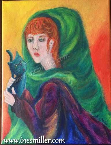 Redhead lady holding black cat Original acrylic painting