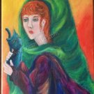 Redhead lady holding black cat Original acrylic painting