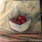 Bowl of cherries paint brushes acrylic canvas painting for sale