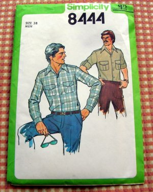 Men's Shirt  Vintage Sewing Pattern Simplicity 8444