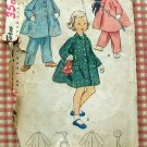 Girls Vintage 50s Winter Coat and Bonnet Sewing Pattern Simplicity 4454