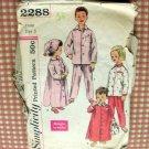Childs Pajamas 50s vintage sewing pattern Simplicity 2288