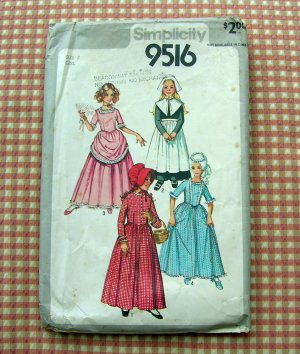 Colonial Pilgrim Costume Vintage Sewing Pattern Size 7 Simplicity 9516