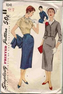 vintage sewing pattern Simplicity 1041 50s pencil skirt, suit and jacket and blouse